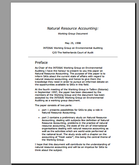 Natural Resource Accounting: Working Group Document