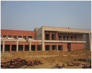 Hostel block being constructed